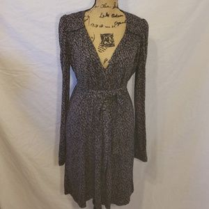 French Connection Wrap Dress Taupe and Black 10